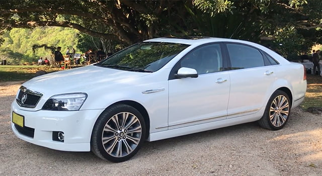 Holden Caprice v8 white Byron Bay Luxury Transfers